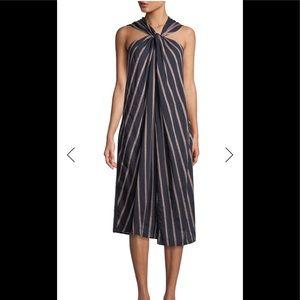 Vince textured stripe twist front halter dress